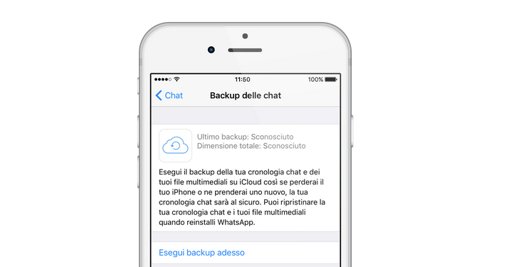 Backup WhatsApp iPhone manuale