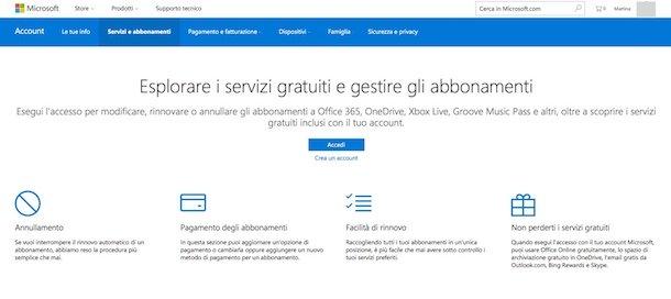 Cancellare abbonamenti Microsoft
