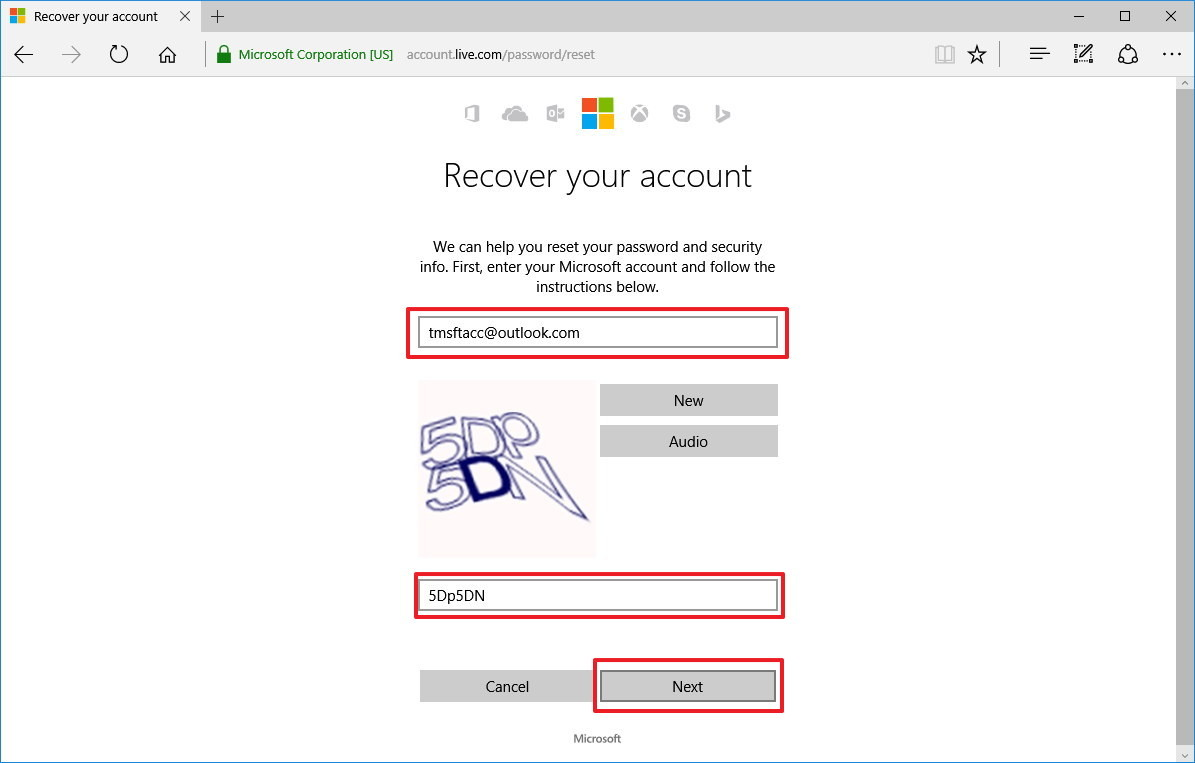Recupera account Microsoft