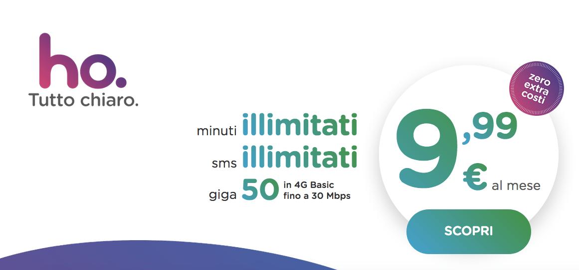 Ho.mobile: 50GB a 9,99 euro, la nuova unica offerta