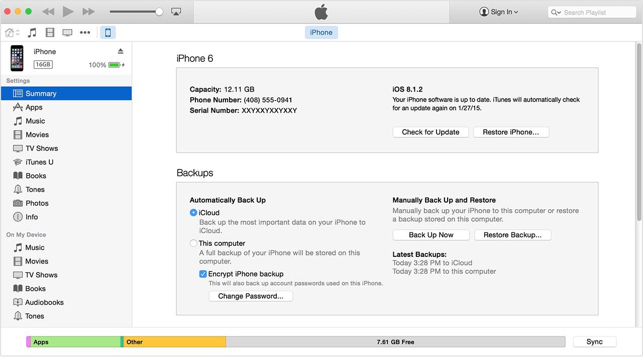 Backup iTunes per recuperare contatti