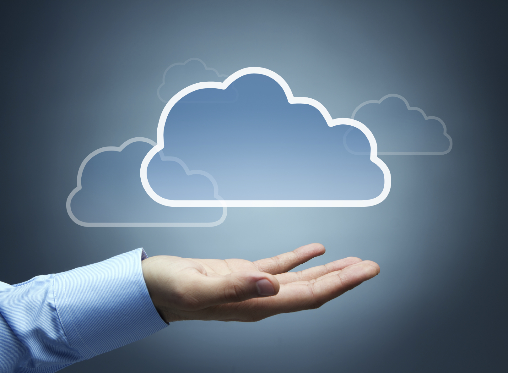 Cloud computing concept with copy space