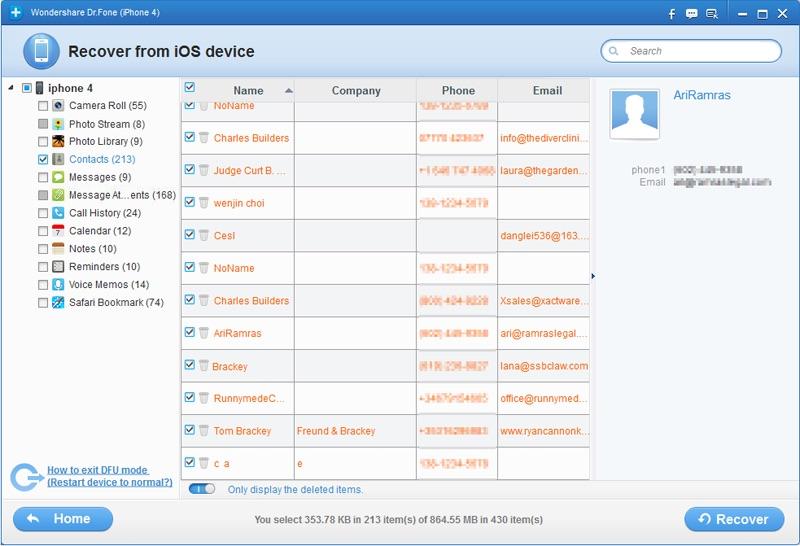 Dr.Fone per recuperare contatti iPhone e iPad