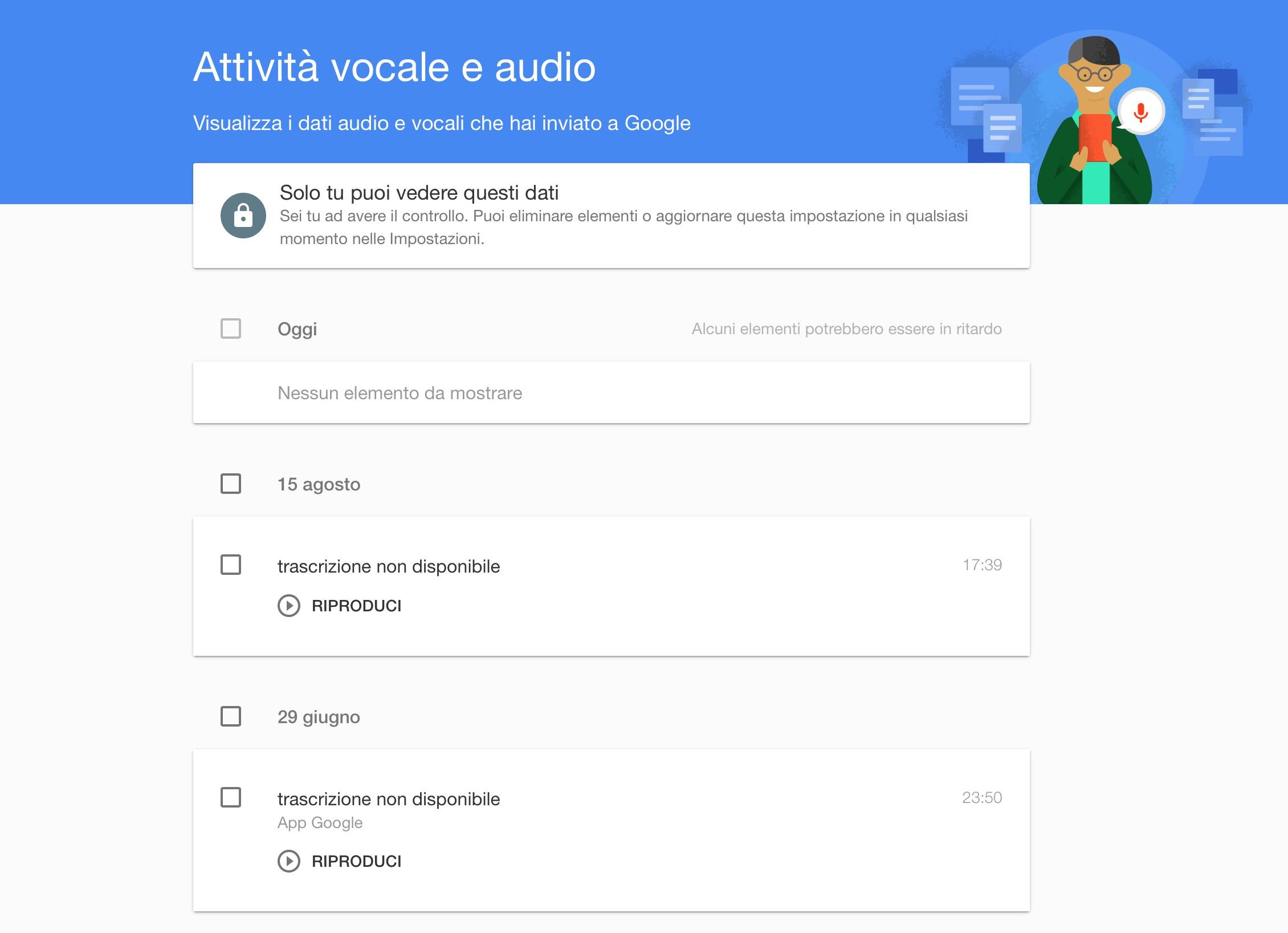 Eliminare cronologia Google Now