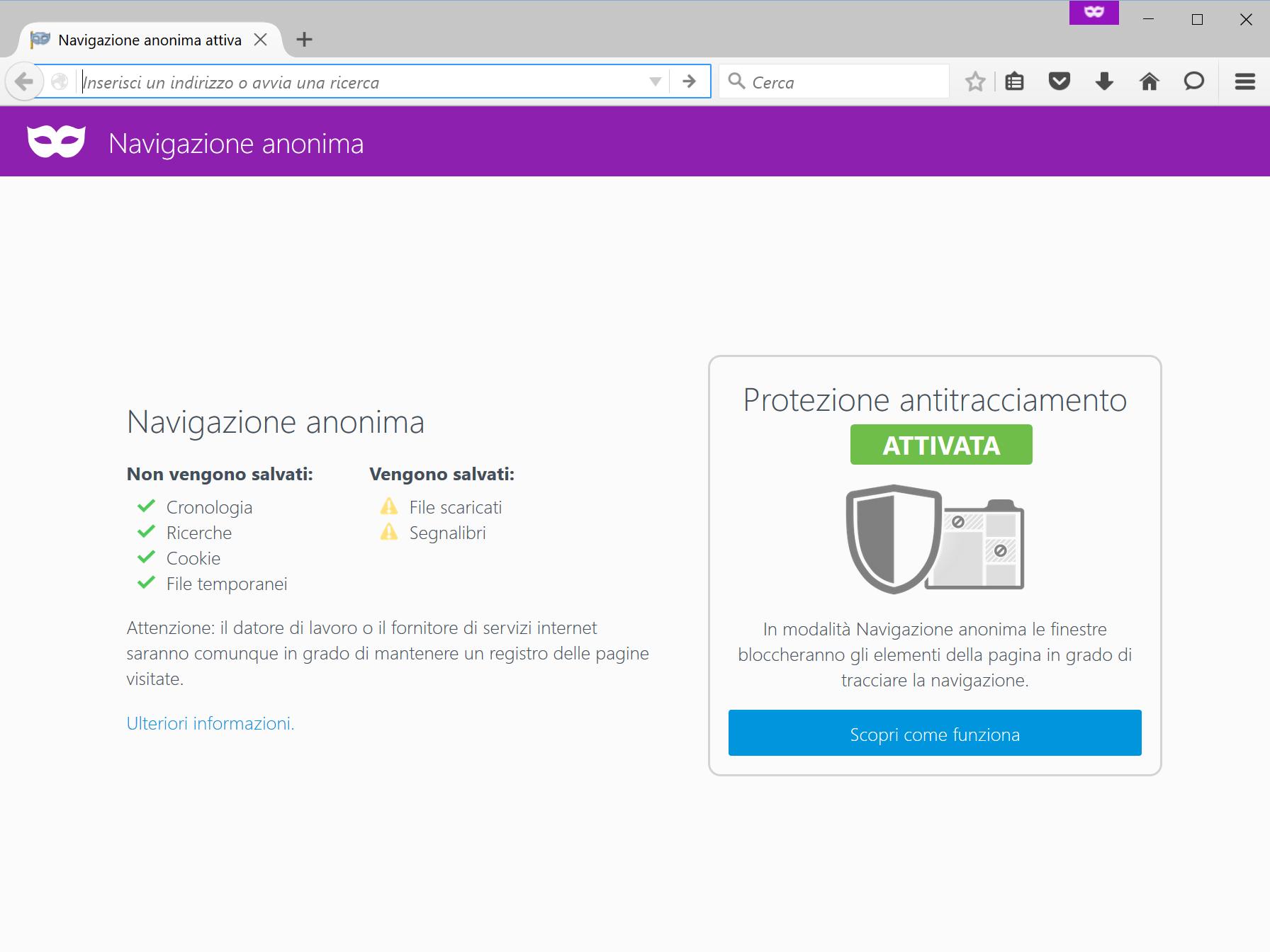Navigazione anonima Firefox 42