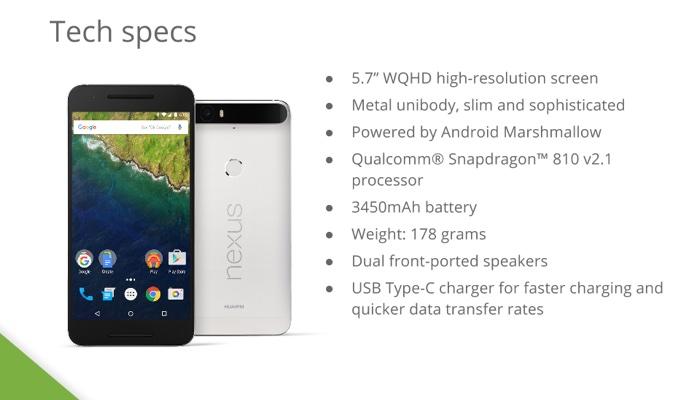 Nexus 6P specifiche tecniche
